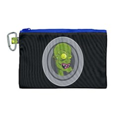 Zombie Pictured Illustration Canvas Cosmetic Bag (large)
