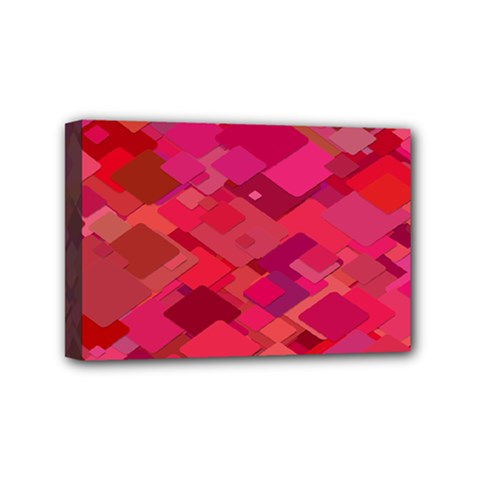 Red Background Pattern Square Mini Canvas 6  X 4