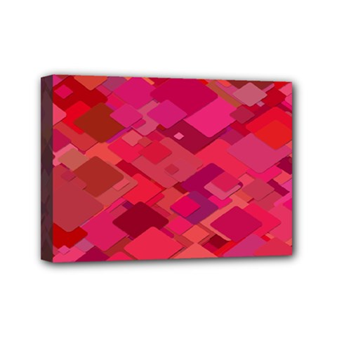 Red Background Pattern Square Mini Canvas 7  X 5