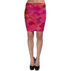 Red Background Pattern Square Bodycon Skirt