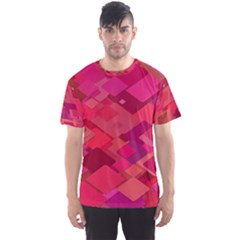 Red Background Pattern Square Men s Sports Mesh Tee
