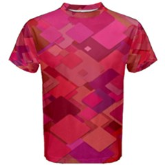 Red Background Pattern Square Men s Cotton Tee