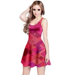 Red Background Pattern Square Reversible Sleeveless Dress