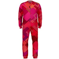 Red Background Pattern Square Onepiece Jumpsuit (men)
