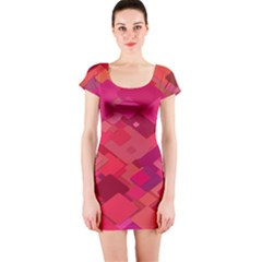 Red Background Pattern Square Short Sleeve Bodycon Dress