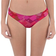 Red Background Pattern Square Reversible Hipster Bikini Bottoms