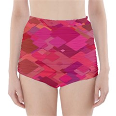 Red Background Pattern Square High Waisted Bikini Bottoms
