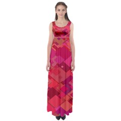 Red Background Pattern Square Empire Waist Maxi Dress