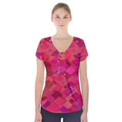 Red Background Pattern Square Short Sleeve Front Detail Top