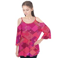 Red Background Pattern Square Flutter Tees