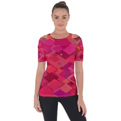 Red Background Pattern Square Short Sleeve Top