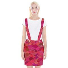 Red Background Pattern Square Braces Suspender Skirt