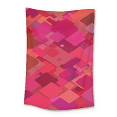 Red Background Pattern Square Small Tapestry
