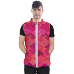 Red Background Pattern Square Men s Puffer Vest