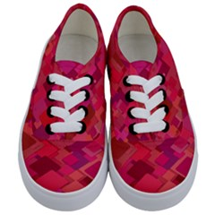 Red Background Pattern Square Kids  Classic Low Top Sneakers