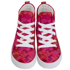 Red Background Pattern Square Kid s Hi Top Skate Sneakers