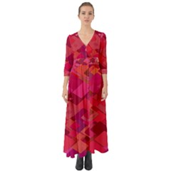 Red Background Pattern Square Button Up Boho Maxi Dress