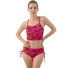 Red Background Pattern Square Mini Tank Bikini Set