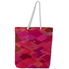 Red Background Pattern Square Full Print Rope Handle Tote (large)