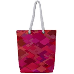 Red Background Pattern Square Full Print Rope Handle Tote (small)