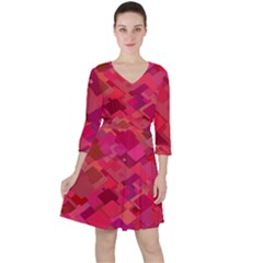 Red Background Pattern Square Ruffle Dress