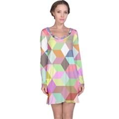 Mosaic Background Cube Pattern Long Sleeve Nightdress