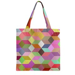 Mosaic Background Cube Pattern Zipper Grocery Tote Bag