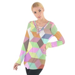 Mosaic Background Cube Pattern Tie Up Tee