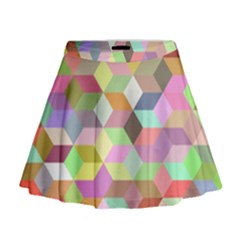 Mosaic Background Cube Pattern Mini Flare Skirt
