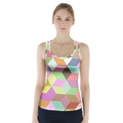Mosaic Background Cube Pattern Racer Back Sports Top