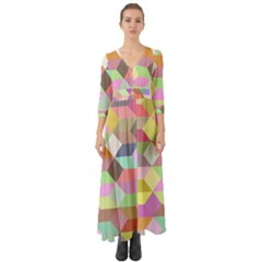 Mosaic Background Cube Pattern Button Up Boho Maxi Dress