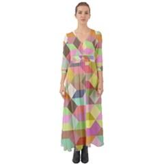 Mosaic Background Cube Pattern Button Up Boho Maxi Dress