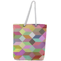 Mosaic Background Cube Pattern Full Print Rope Handle Tote (large)