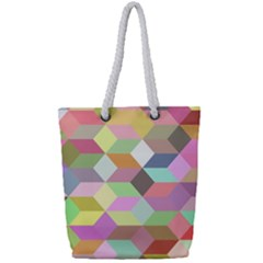 Mosaic Background Cube Pattern Full Print Rope Handle Tote (small)