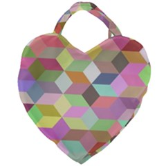 Mosaic Background Cube Pattern Giant Heart Shaped Tote