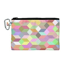 Mosaic Background Cube Pattern Canvas Cosmetic Bag (medium)