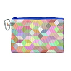 Mosaic Background Cube Pattern Canvas Cosmetic Bag (large)