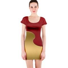 Background Festive Wave Short Sleeve Bodycon Dress