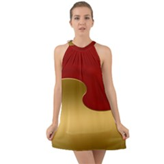 Background Festive Wave Halter Tie Back Chiffon Dress