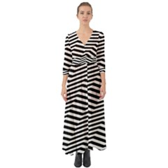 Zig Zag Zigzag Chevron Pattern Button Up Boho Maxi Dress