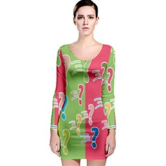 Question Mark Problems Clouds Long Sleeve Bodycon Dress