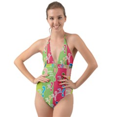 Question Mark Problems Clouds Halter Cut Out One Piece Swimsuit