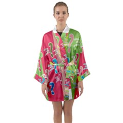 Question Mark Problems Clouds Long Sleeve Kimono Robe