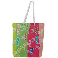 Question Mark Problems Clouds Full Print Rope Handle Tote (large)