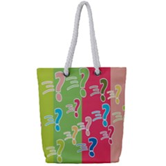 Question Mark Problems Clouds Full Print Rope Handle Tote (small)