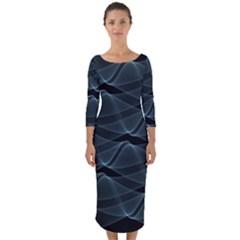 Desktop Pattern Vector Design Quarter Sleeve Midi Bodycon Dress