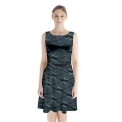 Desktop Pattern Vector Design Sleeveless Waist Tie Chiffon Dress
