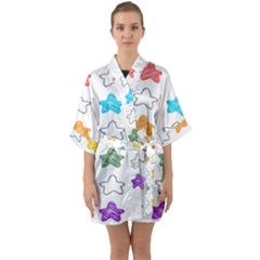 Stars Set Up Element Disjunct Image Quarter Sleeve Kimono Robe