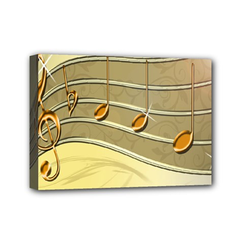 Music Staves Clef Background Image Mini Canvas 7  X 5