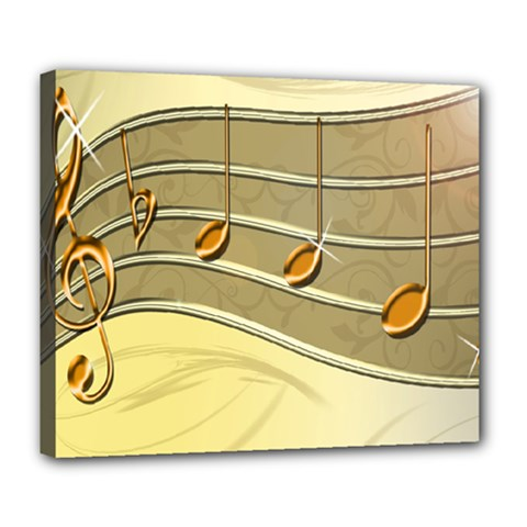 Music Staves Clef Background Image Deluxe Canvas 24  X 20